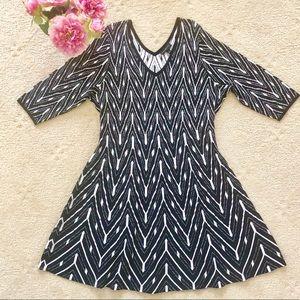 LANE BRYANT knit dress black white Plus Size 26/28